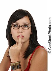 Beautiful Woman with Finger to Lips