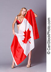 Beautiful woman with Flag of Canada.