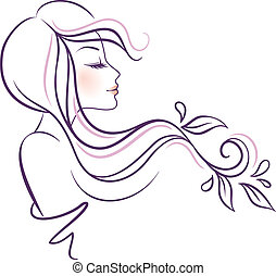 Beautiful woman with floral - Vector illustration of...