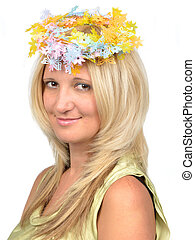 Beautiful woman with floral wreath