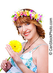 beautiful woman with flower and wreath