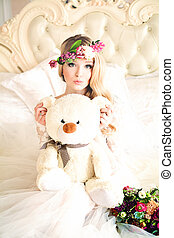 Beautiful Woman with Flower Arrangement, Flower Wreath, Makeup and Handmade Toy