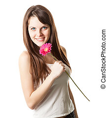 Beautiful woman with flower in a studio