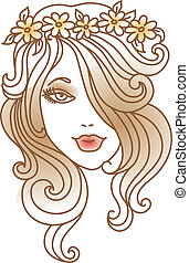 Beautiful woman with flower, linear illustration