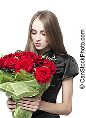 beautiful woman with flowers isolated on white