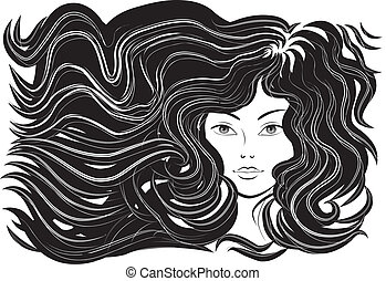 beautiful woman with flowing hair, vector illustration, monochrome