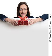 beautiful woman with gift box