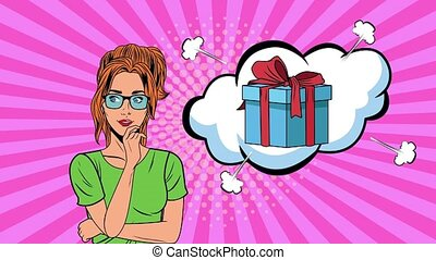 beautiful woman with gift in expression bubble pop art style