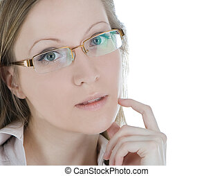 Beautiful woman with glasses isolated over a white background