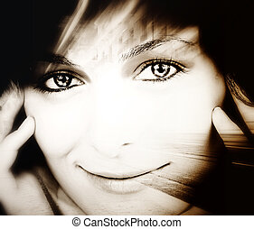 Beautiful woman with great eyes.