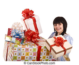 Beautiful woman with group of gift box. .