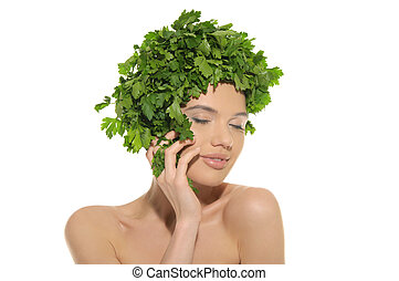 beautiful woman with hat of parsley
