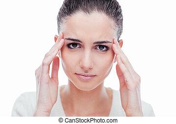 Beautiful woman with headache