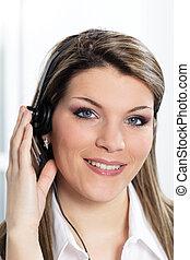 beautiful woman with headset