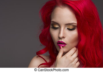 Beautiful Woman with Healthy Red Ha