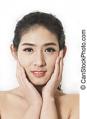 beautiful woman with healthy skin