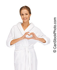 beautiful woman with heart shaped hands