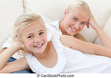 Beautiful woman with her daughter