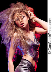 Beautiful woman with huge afro haircut - Beautiful blonde...