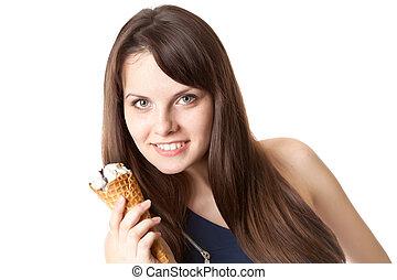 Beautiful woman with ice-cream
