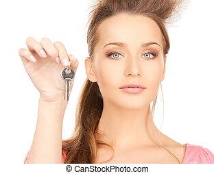 beautiful woman with key