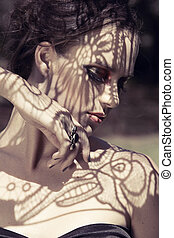 beautiful woman with lace shadows - beautiful young woman ...