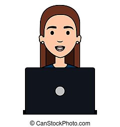 beautiful woman with laptop avatar character