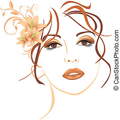 Beautiful woman with lilies in hair - Portrait of beautiful...