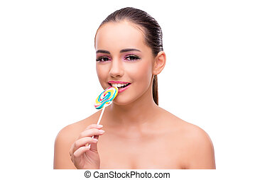 Beautiful woman with lollipop isolated on white