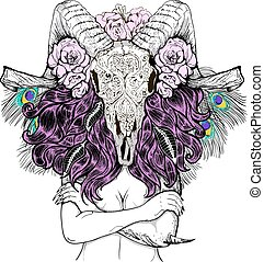 Beautiful woman with long hair and horns