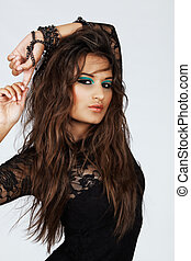 beautiful woman with long hair in lace