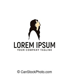 beautiful woman with long hair logo design concept template