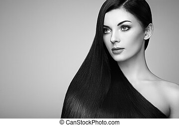 Beautiful woman with long smooth hair