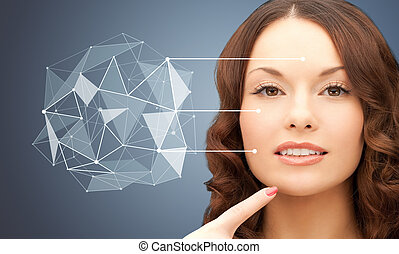 beautiful woman with low poly shape projection