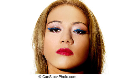 Beautiful woman with make up. - Beautiful young woman with...