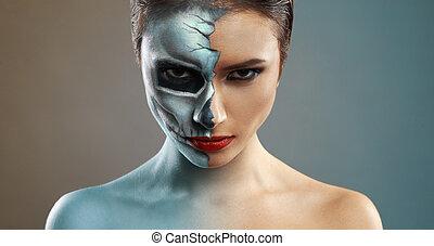 beautiful woman with makeup skeleton half - beautiful woman...