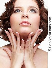 beautiful woman with manicure