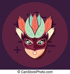 beautiful woman with mask carnival