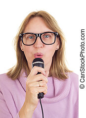 Beautiful woman with microphone