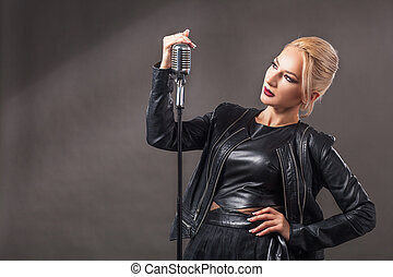 woman with microphone.