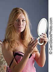 beautiful woman with mirror - beautiful blonde woman with...