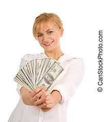 Beautiful woman with money 3