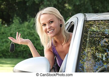 Beautiful Woman with New Car