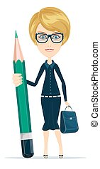 Beautiful woman with oversized pencil. Stock flat vector illustration.