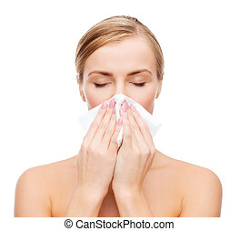 beautiful woman with paper tissue - cosmetics, health and...