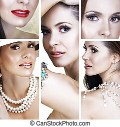 beautiful woman with pearls collage