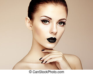 Beautiful woman with perfect makeup. Beauty portrait
