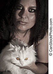 Beautiful woman with persian cat