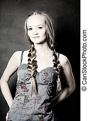 Beautiful Woman with Pigtail