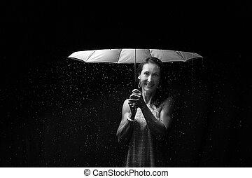 Beautiful woman with pink dress under an umbrella at night